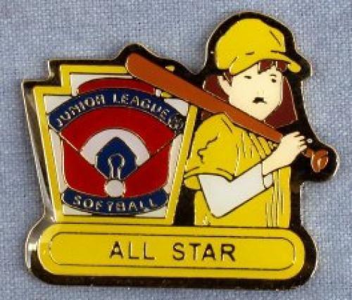 all star junior league softball pin