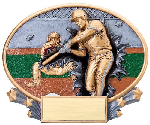baseball motion x oval resin