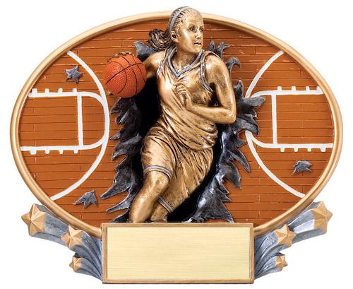 female basketball motion x oval resin