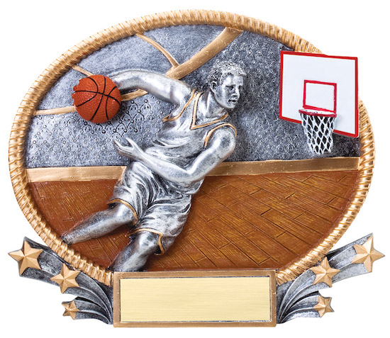 male basketball 3-d oval resin