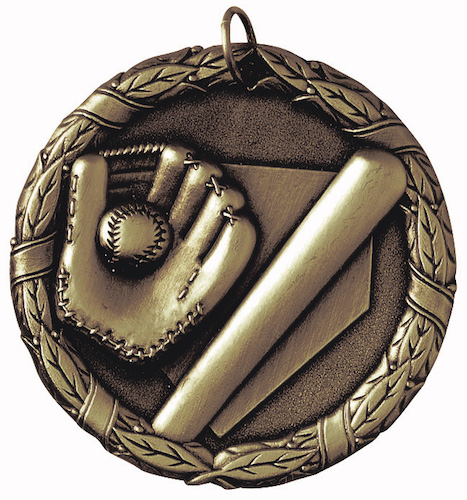 baseball bat and glove xr series medal