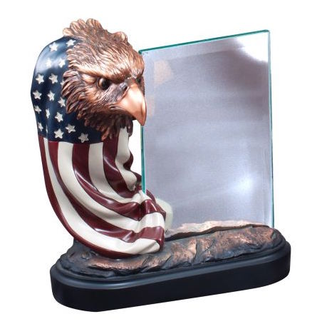 Eagle Head with Flag and Glass