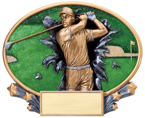 male golf motion x oval resin