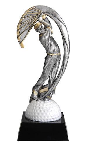male golf motion swoosh resin