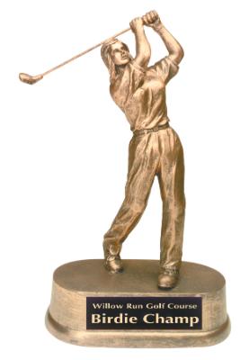 female golf antique gold resin