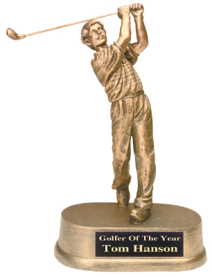 male golf antique gold resin