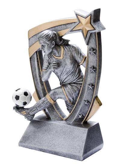 female soccer 3-d star resin