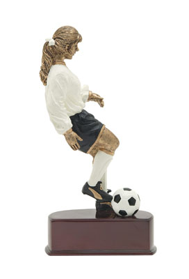 female soccer action color resin