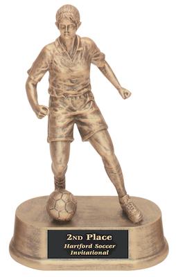 female soccer antique gold resin