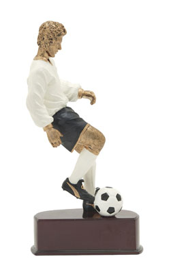 male soccer action color resin