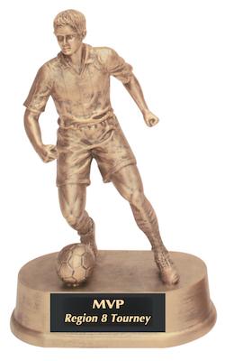 male soccer antique gold resin