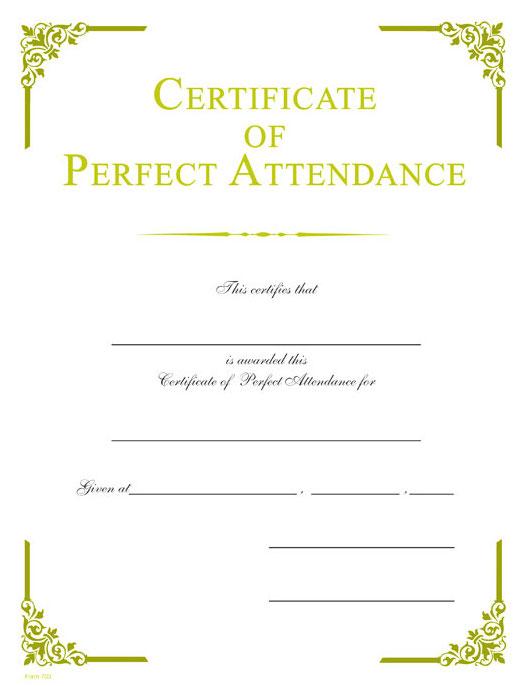 perfect attendance gold foil certificate wilson awards