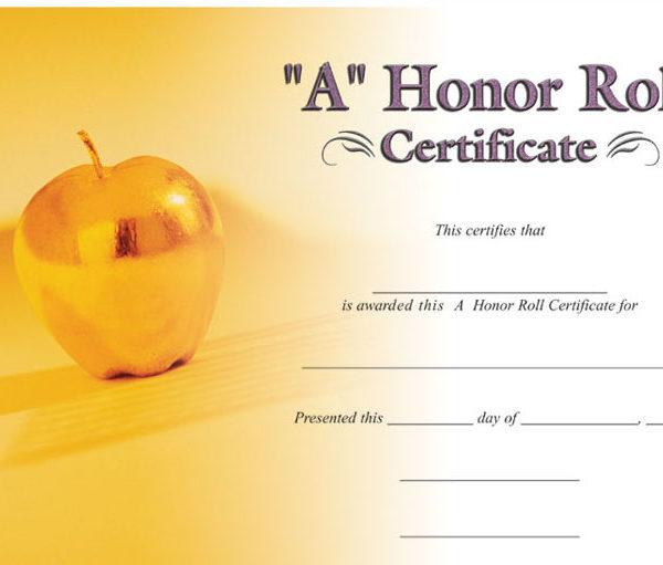 a honor roll certificate