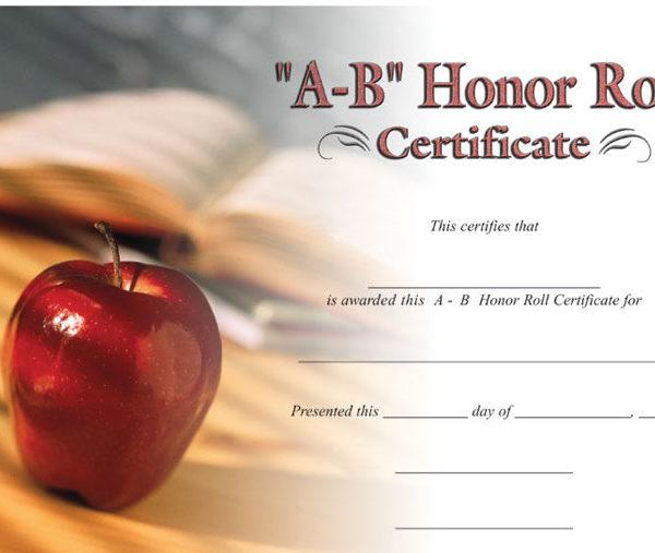 a-b honor roll certificate