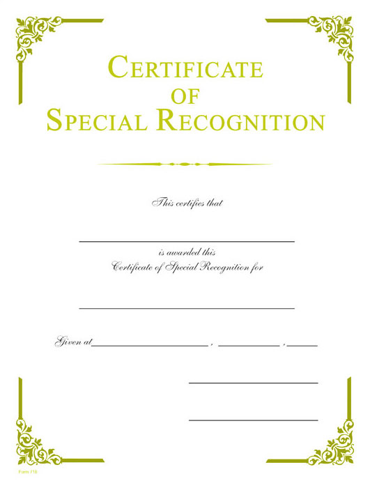 special recognition gold foil certificate wilson awards