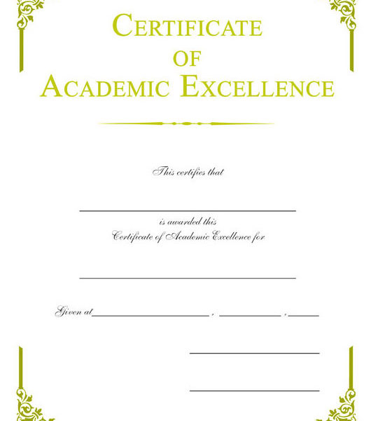 certificate of academic excellence