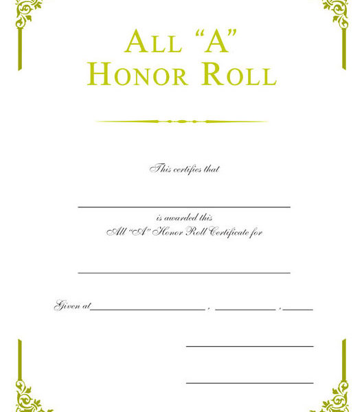 Sample Certificate For Honor Roll Images Certificate Design And