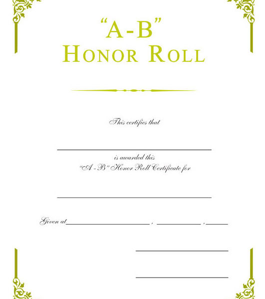 a b honor roll certificate template - gold foil embossed certificates wilson awards