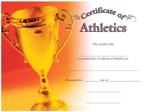 certificate of athletics