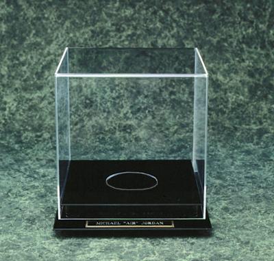 acrylic basketball soccer display case with black base
