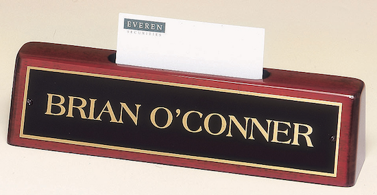 rosewood nameplate card holder