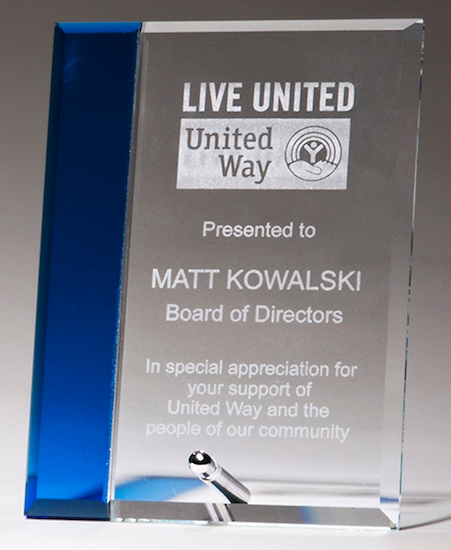 blue highlight easel post glass award