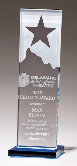etched star glass award
