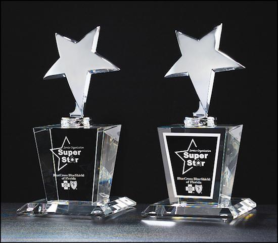 silver star on crystal base award