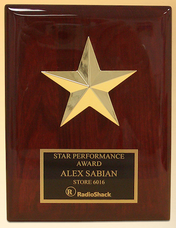 rosewood star casting piano finish plaque