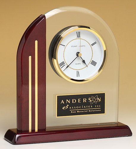 rosewood glass arch clock