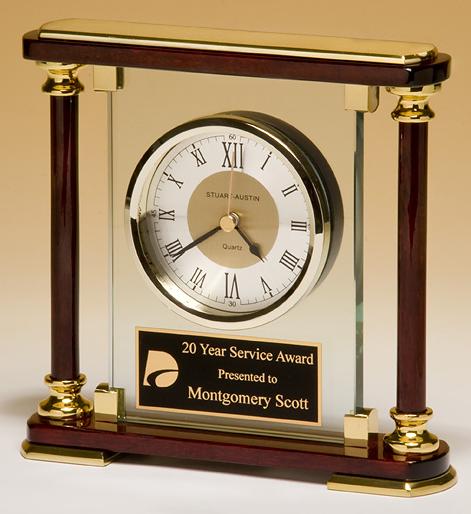 rosewood column glass clock