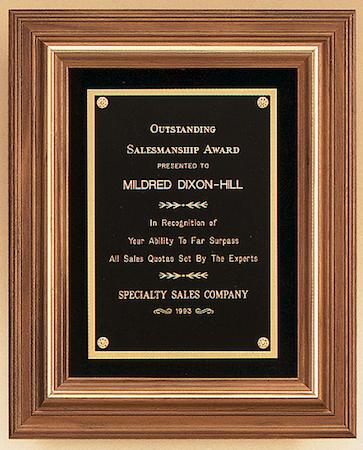walnut framed plaque