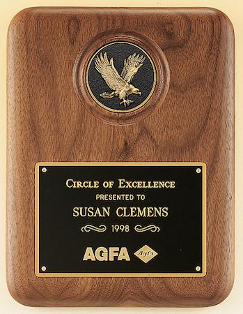 walnut eagle medallion plaque