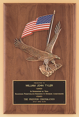 walnut eagle with flag plaque
