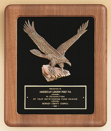 walnut eagle plaque with velour background