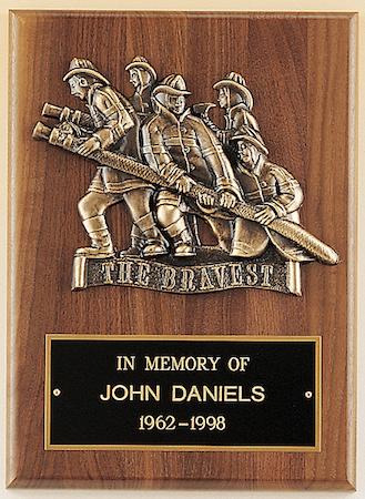 fireman award walnut plaque
