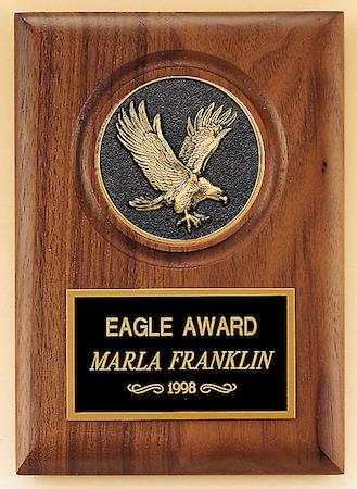walnut large eagle medallion plaque