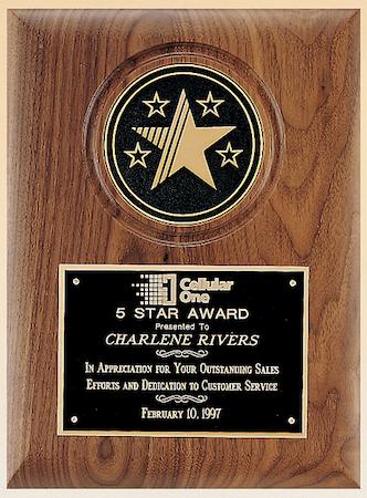 walnut large disc holder plaque - 5-star