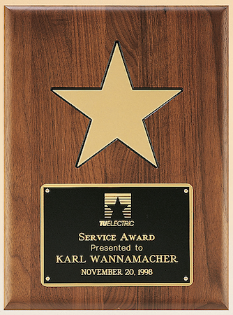 walnut gold star plaque