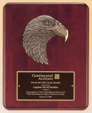 rosewood eagle head plaque