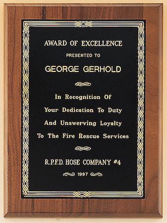 walnut black brass plaque