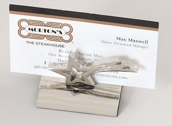 silver star business card holder