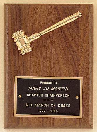 walnut p57 gavel plaque