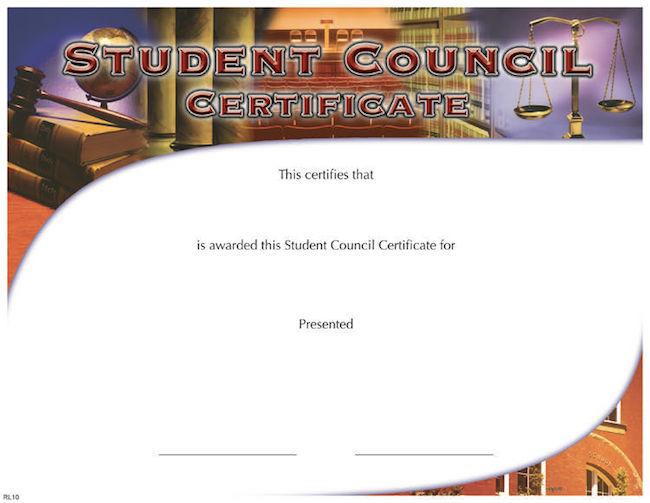 student council certificate  u2013 wilson awards