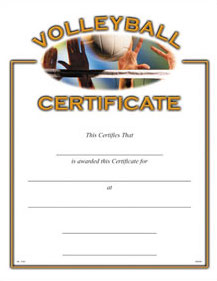 VOLLEYBALL CERTIFICATE