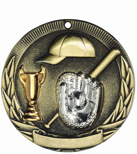baseball tri-colored medal