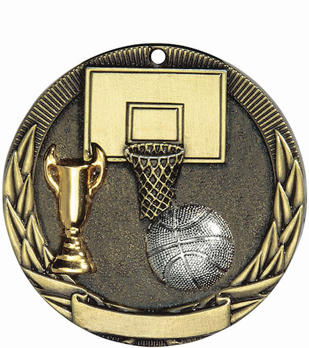 basketball tri-colored medal