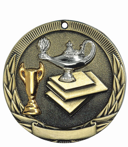 lamp of knowledge tri-colored medal