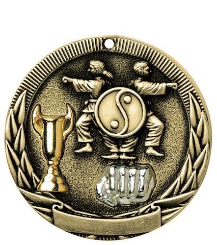 karate tri-colored medal