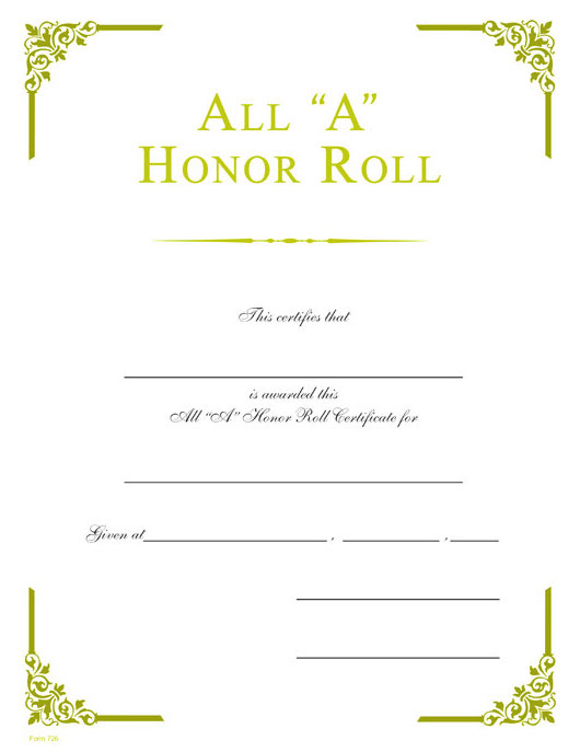 """All """"A"""" Honor Roll Gold Foil Certificate – Wilson Awards"""